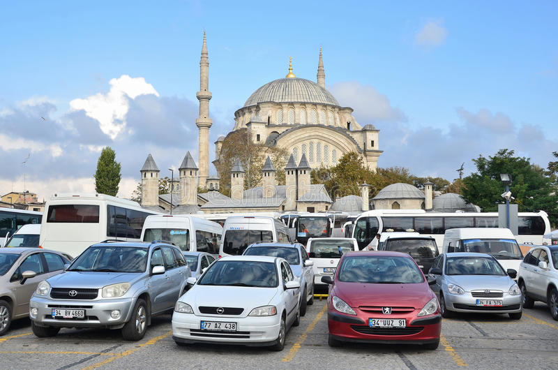 Istanbul, Turkey, October, 19, 2013. Cars near the mosque Nuruosmaniye royalty free stock photos