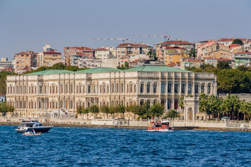 Istanbul, Turkey, October 8, 2011: Cirigan Palace Kempinski Hotel. Historic Cirigan Palace, now the Kempinski Hotel, on the banks of the Bosporus royalty free stock photo