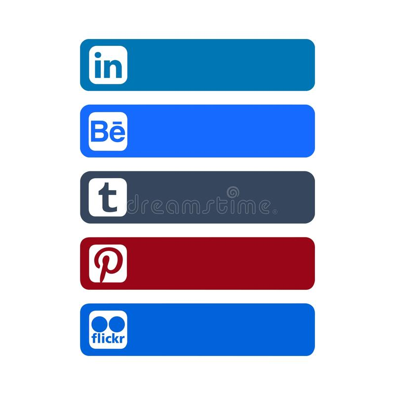 Istanbul, Turkey - October 26, 2017: Collection of popular social media logos printed on paper. Linkedin, Behance, Tumblr, Pinterest, Flickr stock illustration