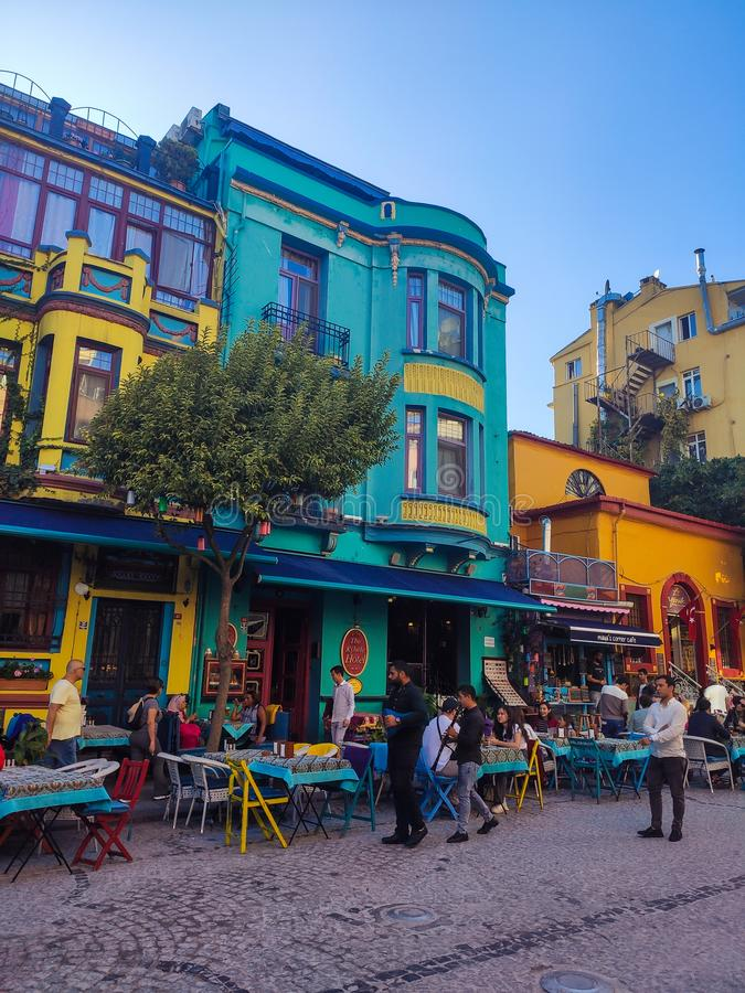 Istanbul, TURKEY - October 13- 2019: Colorful buildings and street cafe on Sultanahmet. Istanbul, TURKEY - October 13,2019: Multicolored buildings and street stock photo
