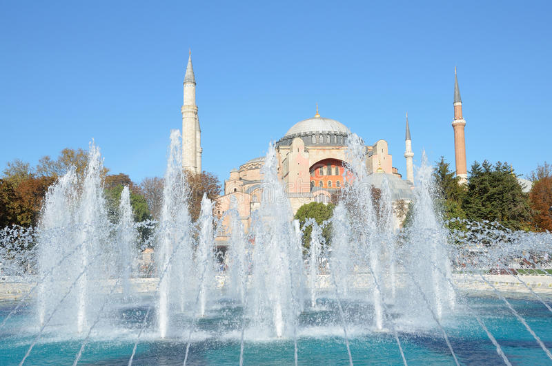 Istanbul, Turkey, October, 18, 2013. Fountain in front of Aya Sofya Museum royalty free stock photos