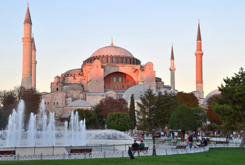 Istanbul, Turkey, October, 19, 2012. Hagia Sophia in lights of the setting sun stock photos