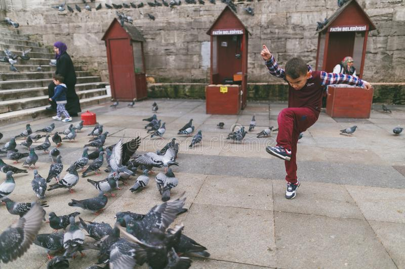 Kid playing with pigeons on street. ISTANBUL, TURKEY - OCTOBER 09, 2015: kid playing with pigeons on street royalty free stock photos