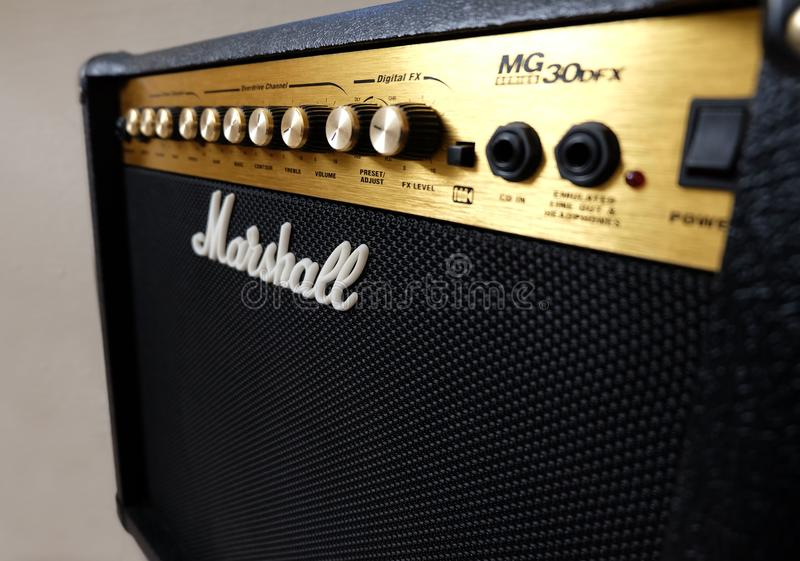 Marshall 30DFX Amplifier. Istanbul, Turkey, October 24, 2017: Shot of a Marshall Amplifier royalty free stock image