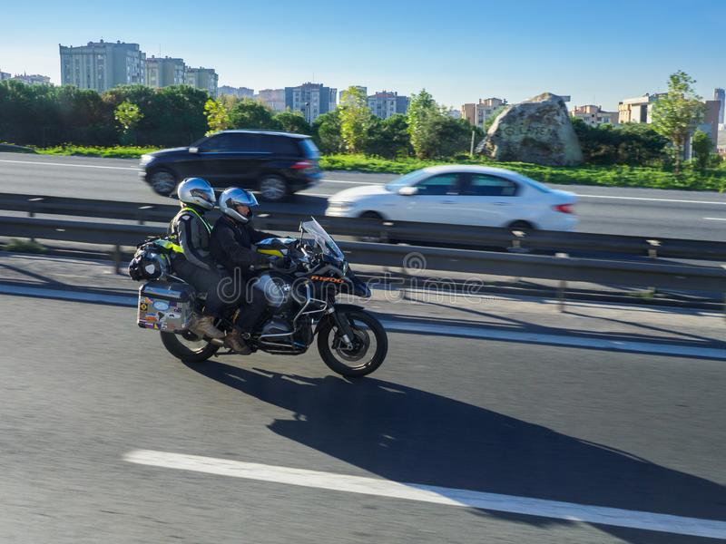 Riding a motorbike on the highway of Istanbul, Turkey stock photos