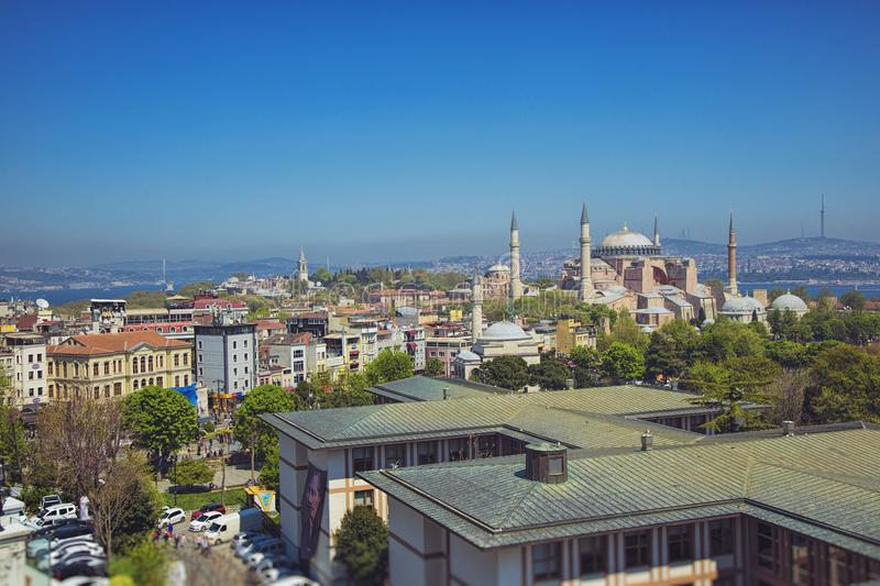 Panoramic view of the Hagia Sophia mosque and Hagia Irene mosque royalty free stock images