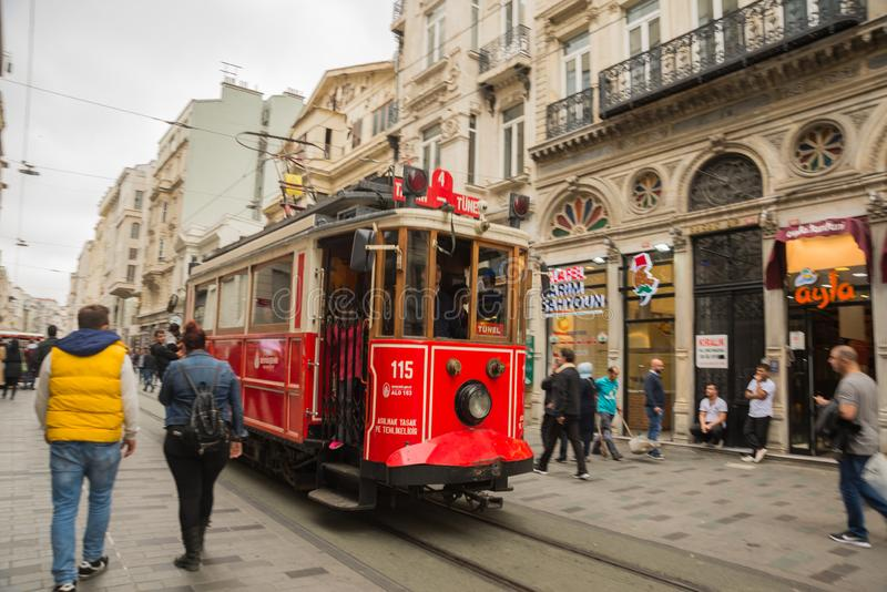 ISTANBUL, TURKEY: Retro tram on Istiklal street. Istanbul historic district. Istanbul famous touristic line. Red tram Taksim-Tunel stock photos