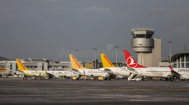 Passenger airplane at Istanbul Airport SAW stock image