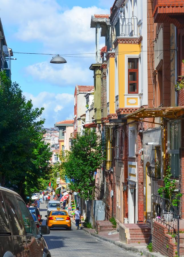 Istanbul, TURKEY, September 20, 2018: Balat quarter with colorful houses in Istanbul stock images