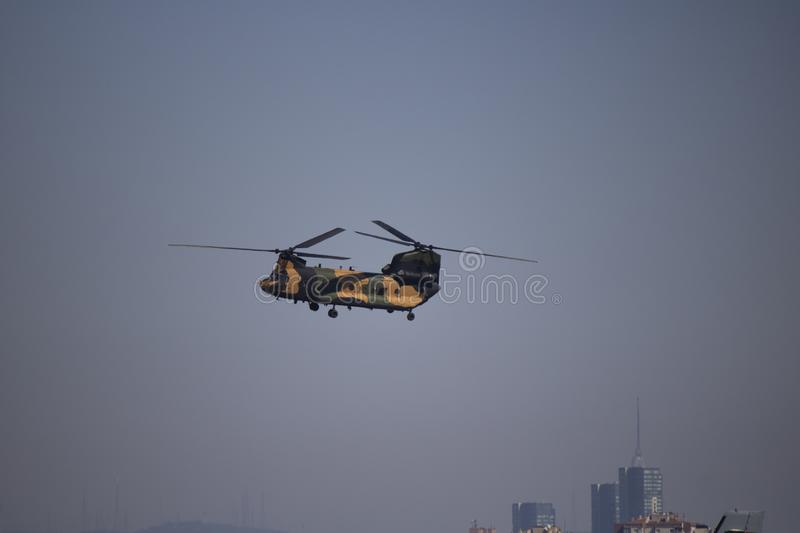 Istanbul, Turkey - September-18,2019: Chinook helicopter demonstration flight at festival royalty free stock photo