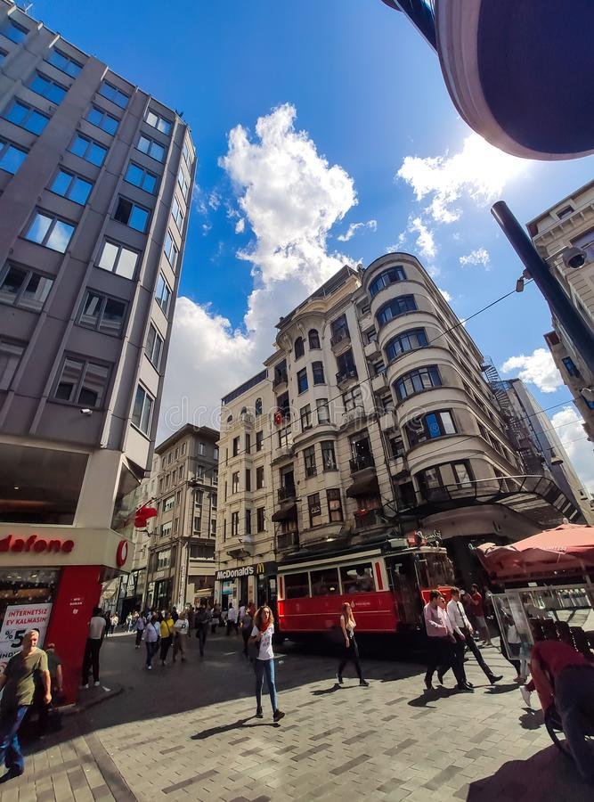 Crowd of people walking at the Independence Avenue or Istiklal Caddesi, Istanbul, Turkey. Istanbul, Turkey 09 September 2019: Crowd of people walking at the royalty free stock photo