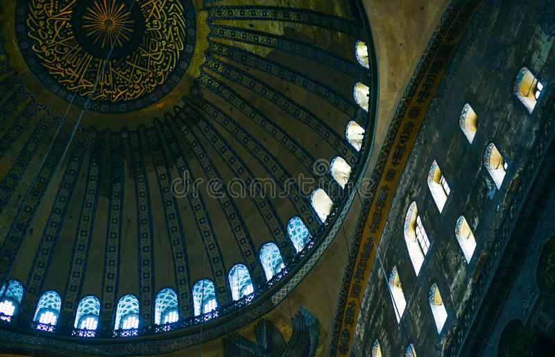 ISTANBUL, TURKEY - SEPTEMBER, 28: Decorative ceiling interior of historic Hagia Sofia temple museum in Istanbul. royalty free stock photos
