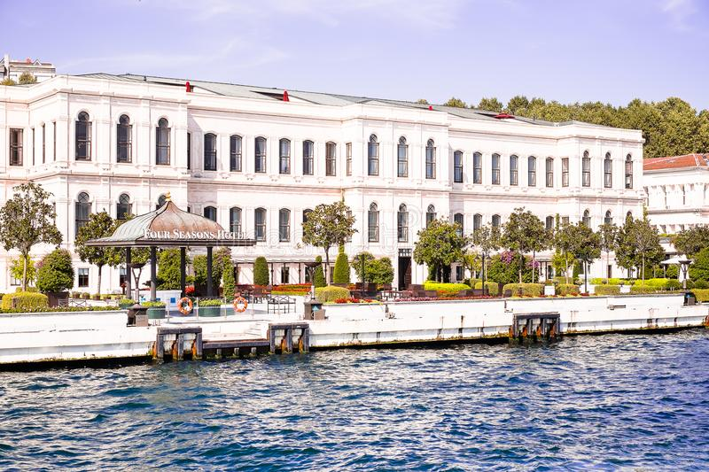 Istanbul / Turkey - September 22, 2014: Four Seasons Hotel Istanbul at the Bosphorus. Converted 19th-century Ottoman Palace situat royalty free stock photography