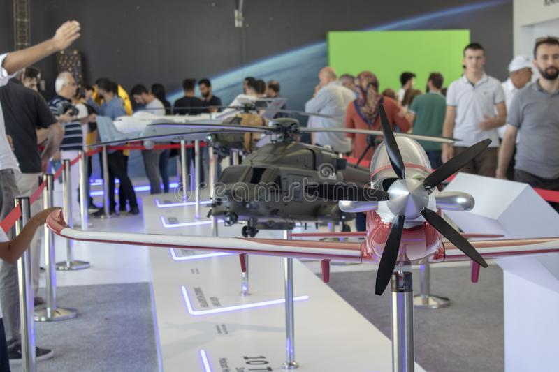 Istanbul, Turkey - September-18,2019: Model of the plane called Hurkus introduced at Teknofest 2019 festival. Helicopter and royalty free stock image