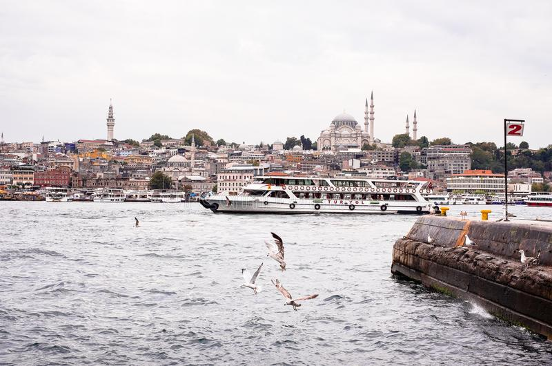 Istanbul / Turkey - September 26, 2014: View from the Golden Horn on the historical center of Istanbul. View of the Sleymaniye Mos stock photos
