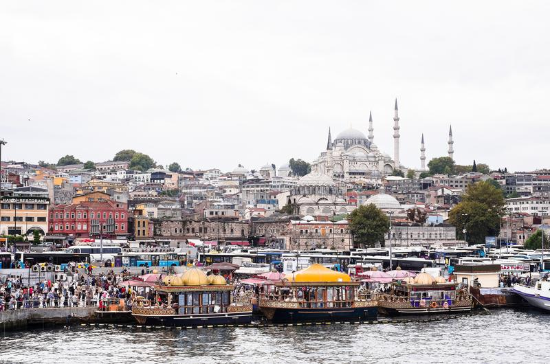 Istanbul / Turkey - September 26, 2014: View from the Golden Horn on the historical center of Istanbul. View of the Sleymaniye Mos royalty free stock image