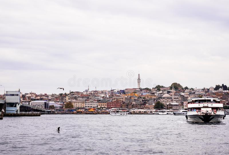 Istanbul / Turkey - September 26, 2014: View from the Golden Horn on the historical center of Istanbul. View of the Suleymaniye Mo royalty free stock image