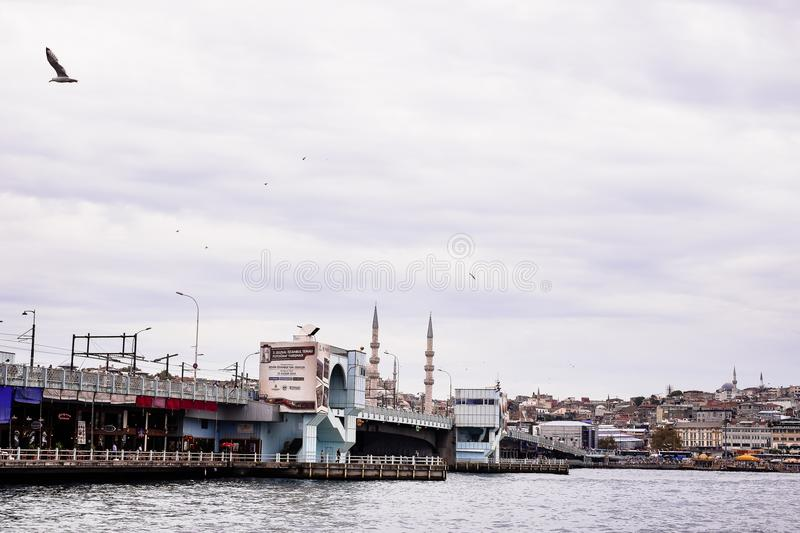 Istanbul / Turkey - September 26, 2014: View from the Golden Horn on the historical center of Istanbul. View of the Suleymaniye Mo royalty free stock photography