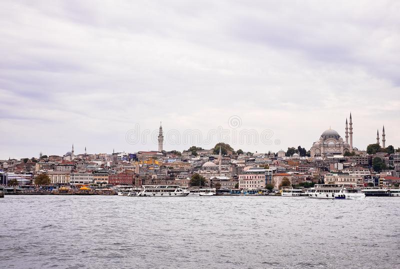 Istanbul / Turkey - September 26, 2014: View from the Golden Horn on the historical center of Istanbul. View of the Suleymaniye Mo stock image