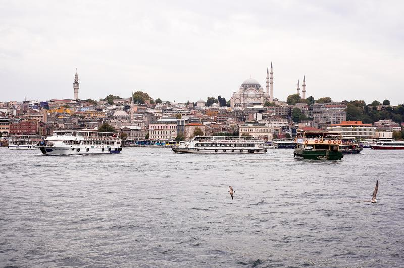 Istanbul / Turkey - September 26, 2014: View from the Golden Horn on the historical center of Istanbul. View of the Suleymaniye Mo stock photos