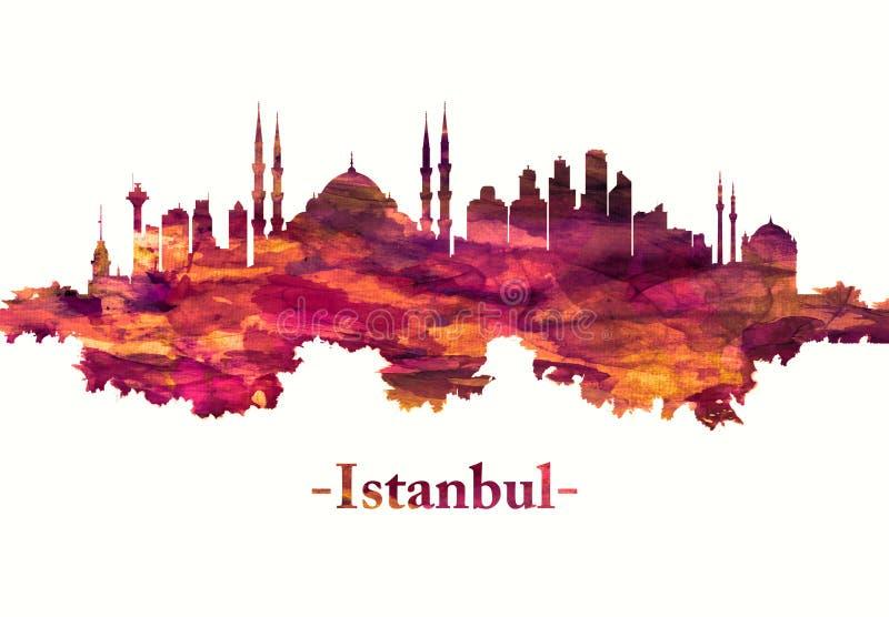 Istanbul Turkey skyline in red stock illustration