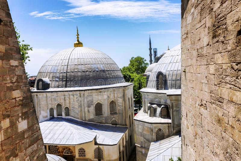 Istanbul, Turkey, 05/23/2019: Stone historic buildings in the courtyard of the Hagia Sophia Cathedral. Close-up stock photography