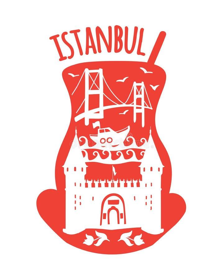 Istanbul, Turkey. Travel illustration of famous turkish symbols: Bosphorus bridge, boat, sea, the ottoman palace entrance gate. vector illustration