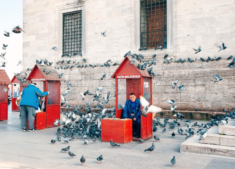 ISTANBUL , TURKEY. View Yeni Cami New Mosque. Man feeding pigeons. royalty free stock photography