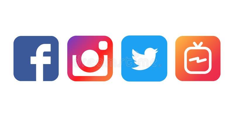 Istanbul Turkiet - Augusti 30, 2018: Samlingen av populära sociala massmedialogoer skrivev ut på vitbok: Facebook Instagram, Twit royaltyfri illustrationer