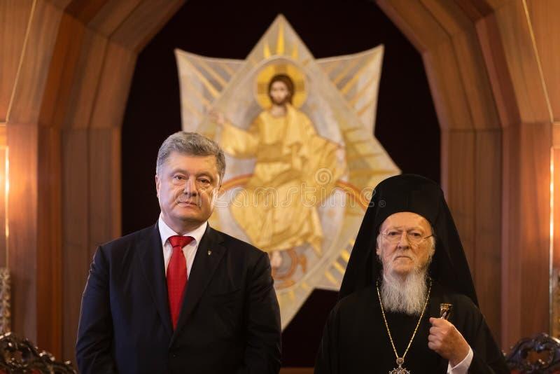 Istanbul Turkiet - November 03, 2018: Ekumenisk Patriarchate och hans All-helighet ekumeniska patriark Bartholomew under ett möte royaltyfri foto
