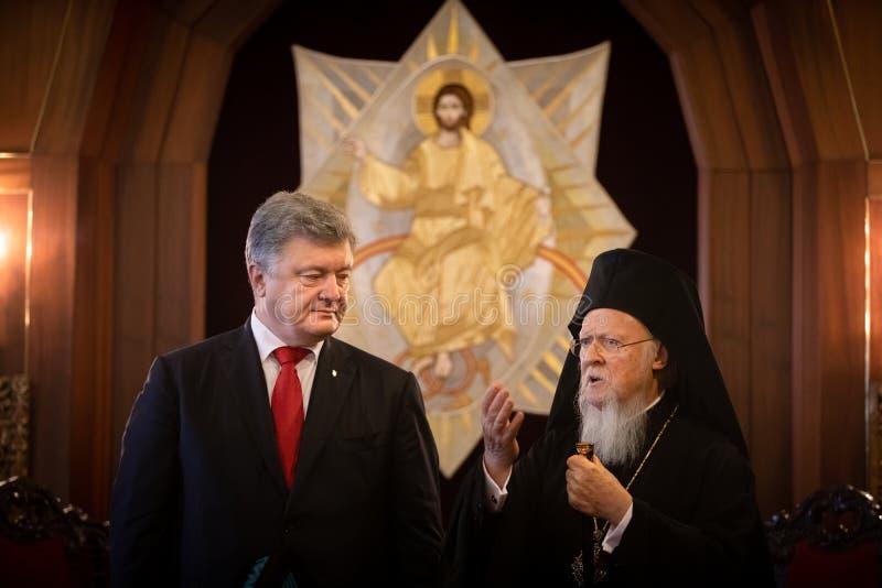 Istanbul Turkiet - November 03, 2018: Ekumenisk Patriarchate och hans All-helighet ekumeniska patriark Bartholomew under ett möte royaltyfria bilder