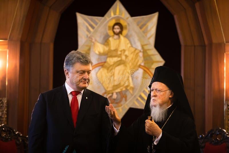 Istanbul Turkiet - November 03, 2018: Ekumenisk Patriarchate och hans All-helighet ekumeniska patriark Bartholomew under ett möte arkivbild