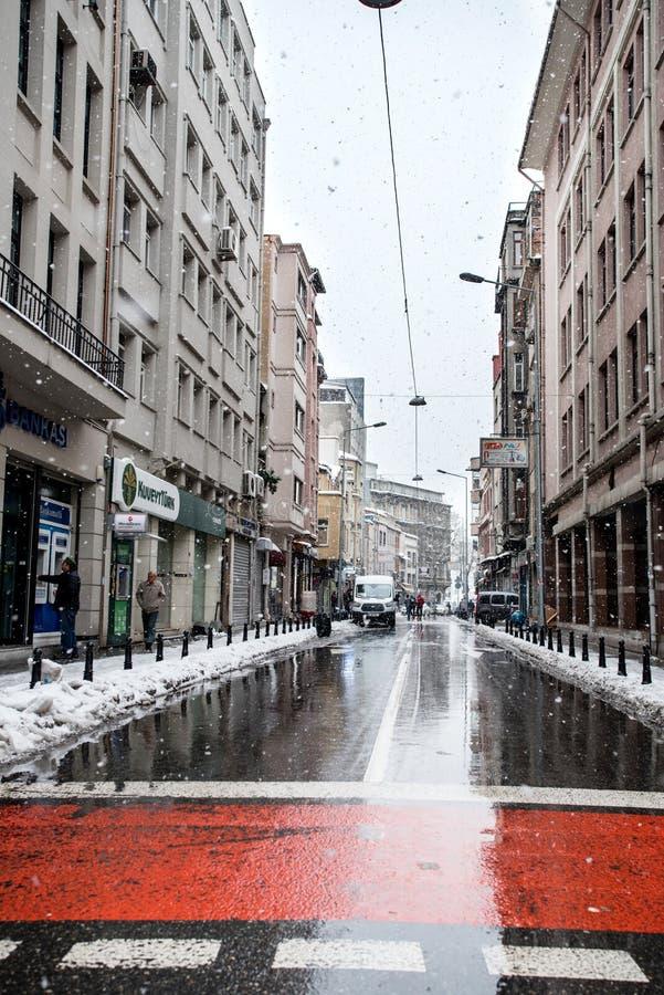 Istanbul under Snow royaltyfria bilder