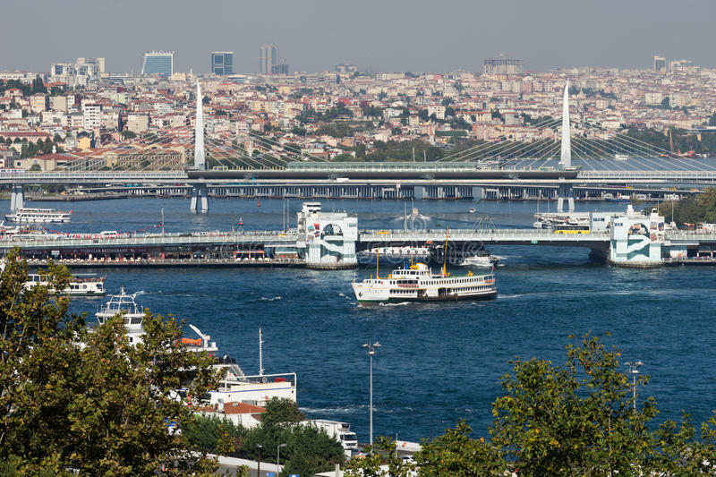 Istanbul view. Bridges and buildings, Turkey travel stock image