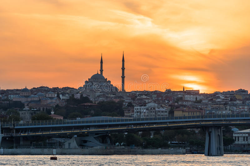 Istanbul view. Bridges and buildings,Turkey travel stock photo