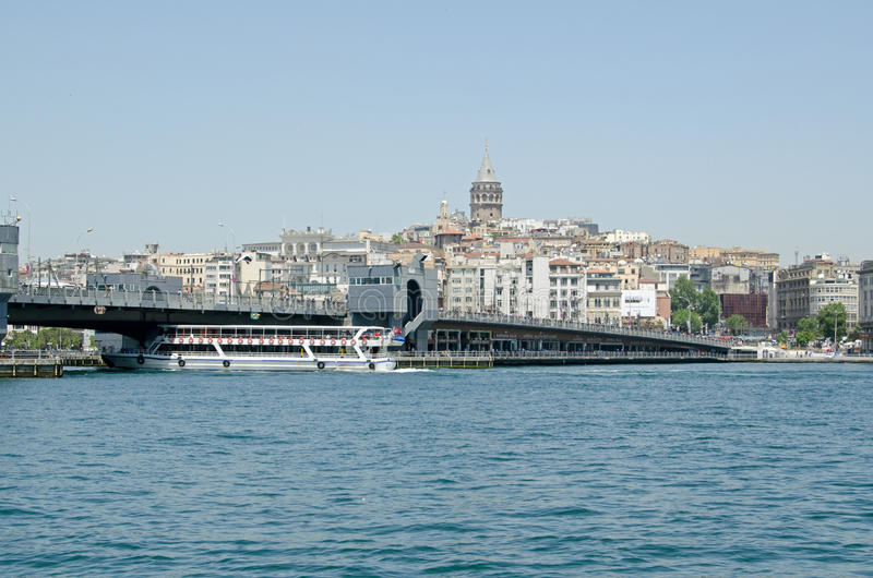 Istanbul view of Golden Horn and Galata Bridge stock images