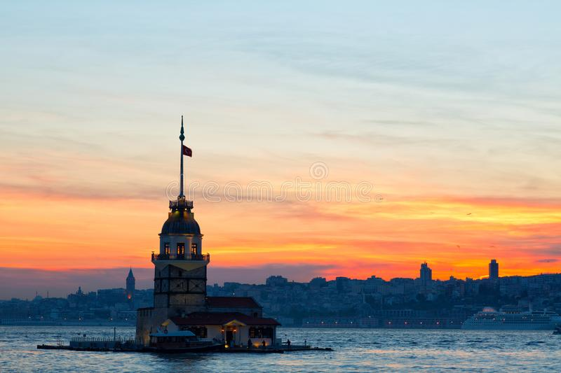 Istanbul, view of the Maiden`s Tower stock photography
