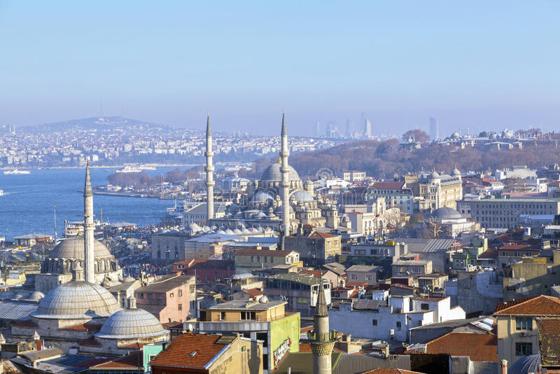 Istanbul. View from Suleymaniye Mosque built by the legendary Ottoman Sultan Suleiman the Magnificent overlooking the Golden Horn, Istanbul royalty free stock images