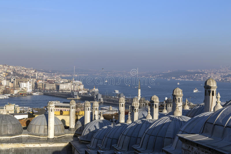 Istanbul. View from Suleymaniye Mosque built by the legendary Ottoman Sultan Suleiman the Magnificent overlooking the Golden Horn, Istanbul royalty free stock photo