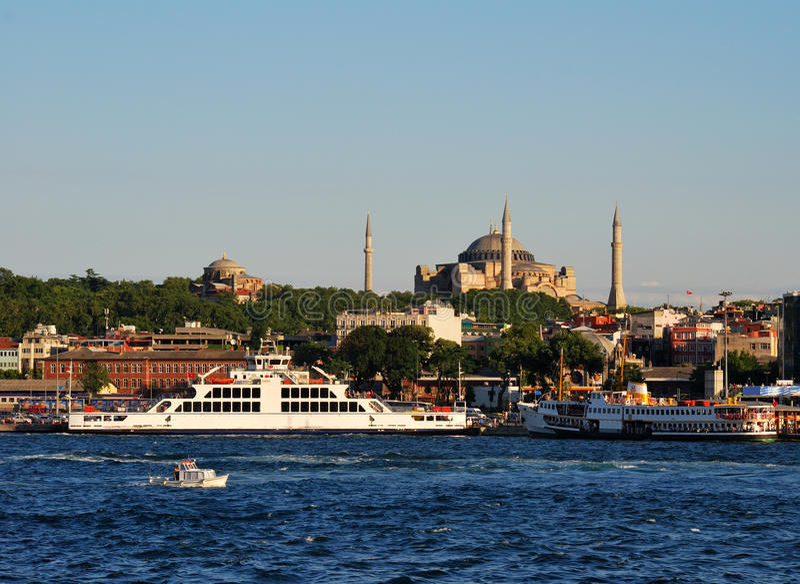 Istanbul view of Sultanahmet, Hagia Sophia. View of Istanbul Sultanahmet district, from Bosphorus strait stock photo