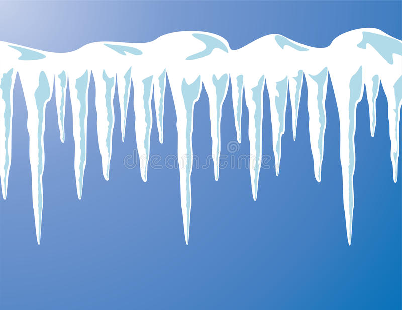 Istappar och snow royaltyfri illustrationer