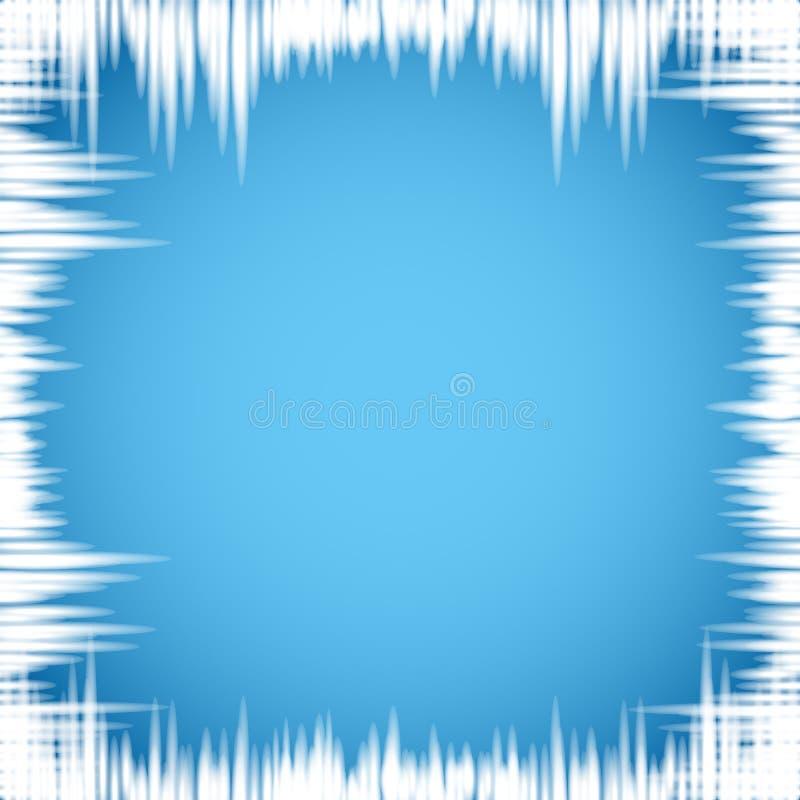 Istappar på fönstret på blå bakgrund stock illustrationer
