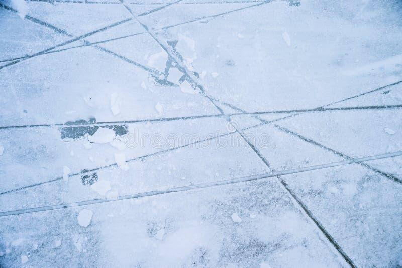 Istextur på utomhus- isbana arkivfoto