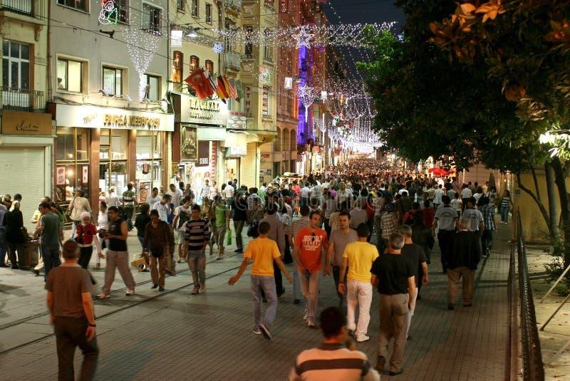 Istiklal的人们,伊斯坦布尔 库存照片