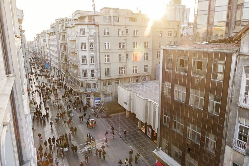 Istiklal Caddesi (Istiklal Avenue), Istanbul, Turkey. ISTANBUL, TURKEY, JANUARY 22, 2015: Top view of Istiklal Caddesi (Istiklal Avenue), one of the most famous stock image