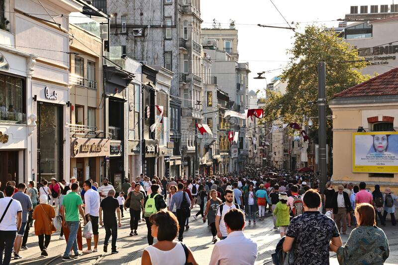 Istiklal Caddesi street in Istanbul. This is a popular tourist attraction in the city.  royalty free stock photos