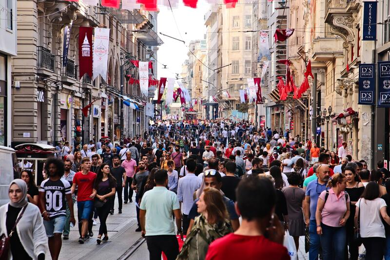 Istiklal Caddesi street in Istanbul. This is a popular tourist attraction in the city.  stock images