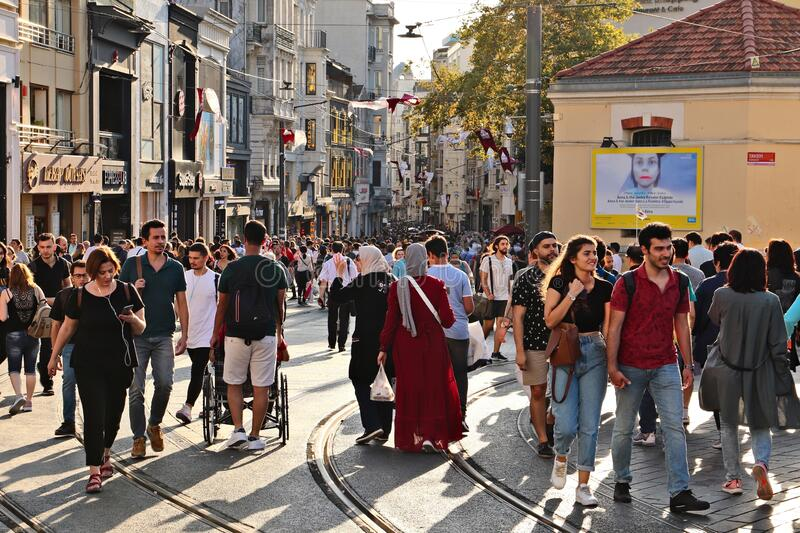 Istiklal Caddesi street in Istanbul. This is a popular tourist attraction in the city.  royalty free stock photography