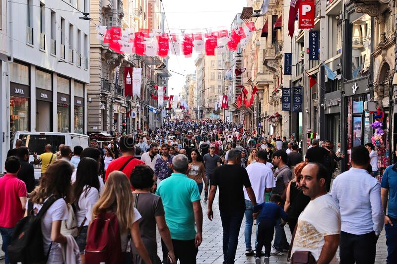 Istiklal Caddesi street in Istanbul. This is a popular tourist attraction in the city.  stock photo