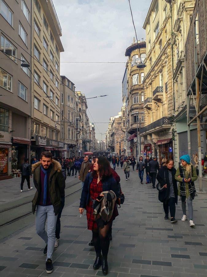 Istiklal Street & People & Buildings in Beyoglu Istanbul. Istiklal Street & Railway & People in Beyoglu Istanbul Turkey stock image